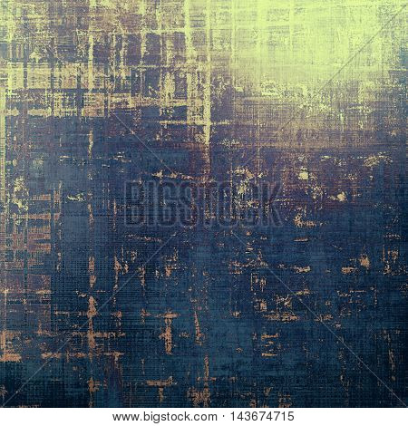 Retro style abstract background, aged graphic texture with different color patterns: yellow (beige); brown; black; blue; purple (violet); gray