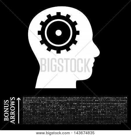Intellect icon with 1200 bonus arrow and direction pictograms. Vector illustration style is flat iconic symbols, white color, black background.