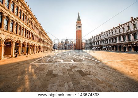 San Marco main square in the morning in Venice