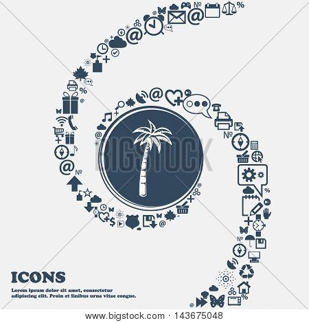 Palm Icon In The Center. Around The Many Beautiful Symbols Twisted In A Spiral. You Can Use Each Sep