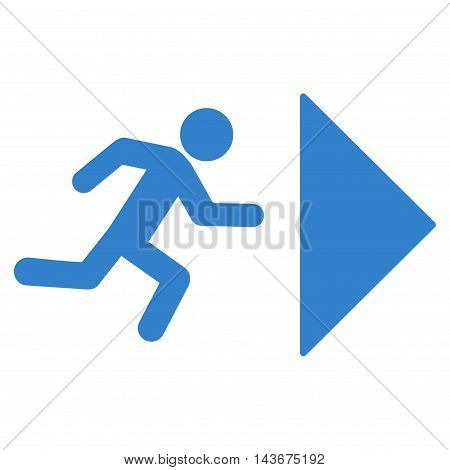 Exit Direction icon. Vector style is flat iconic symbol with rounded angles, cobalt color, white background.