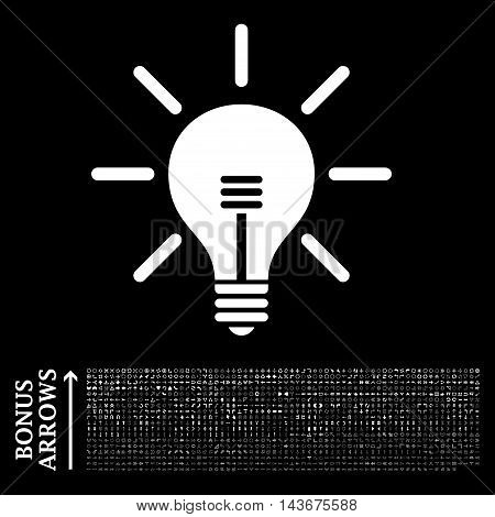 Light Bulb icon with 1200 bonus arrow and direction pictograms. Vector illustration style is flat iconic symbols, white color, black background.