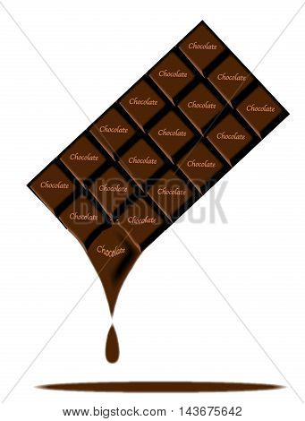 A typical bar of dark Chocolate maelting as a background