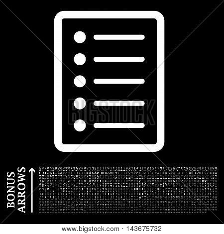 List Page icon with 1200 bonus arrow and direction pictograms. Vector illustration style is flat iconic symbols, white color, black background.