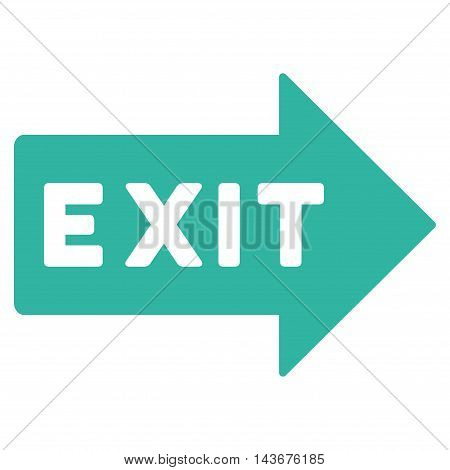 Exit Arrow icon. Vector style is flat iconic symbol with rounded angles, cyan color, white background.