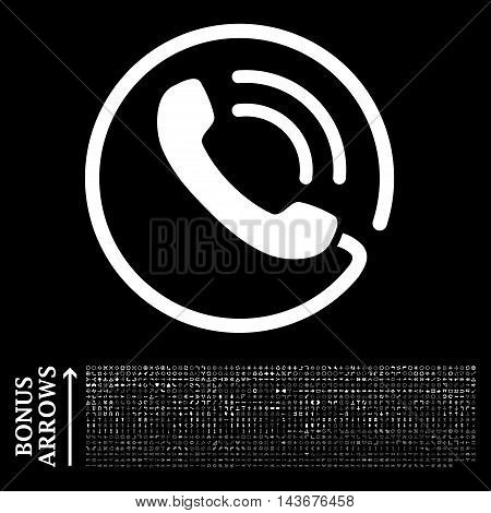 Phone Call icon with 1200 bonus arrow and direction pictograms. Vector illustration style is flat iconic symbols, white color, black background.