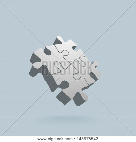 Abstract 3D puzzle design element. Vector illustration