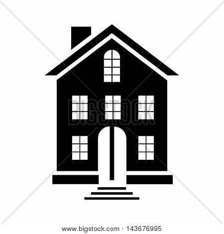 A three-storey building icon in simple style isolated on white background
