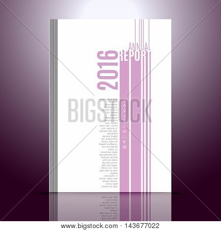 Design template for annual report. Design with icons of cloud, display, hipster, smartphone, idea, graph, communication, e-shop, transport, travel globalisation A4 page size vector Illustration