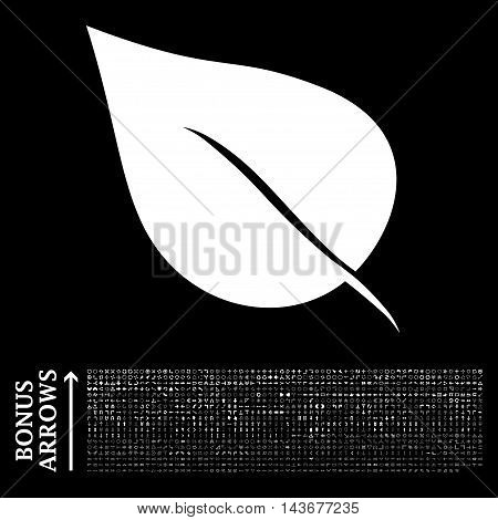 Plant Leaf icon with 1200 bonus arrow and direction pictograms. Vector illustration style is flat iconic symbols, white color, black background.