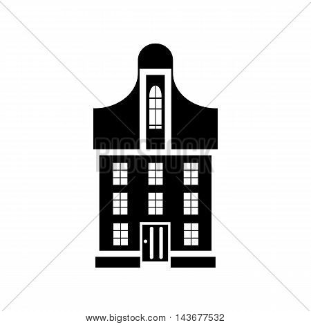 Suburban family house icon in simple style isolated on white background