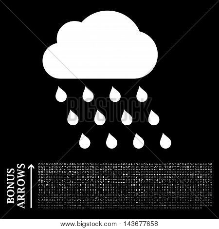 Rain Cloud icon with 1200 bonus arrow and direction pictograms. Vector illustration style is flat iconic symbols, white color, black background.