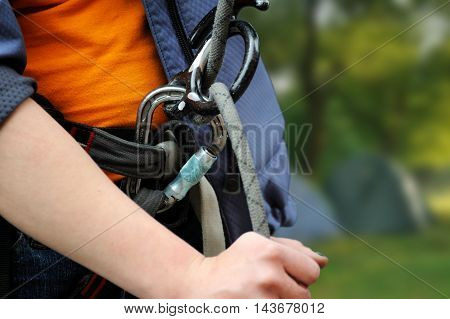 Climber With Equipment