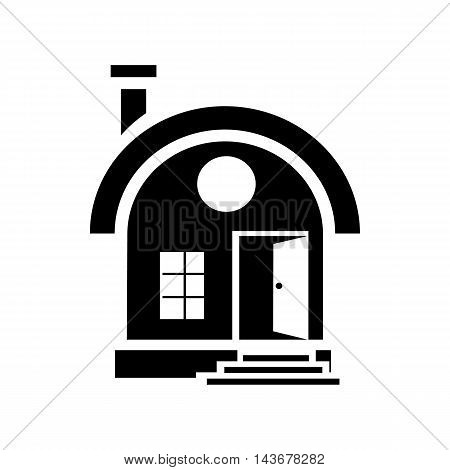 Small urban house icon in simple style isolated on white background