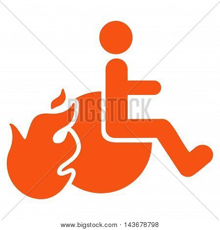 Fired Patient icon. Vector style is flat iconic symbol with rounded angles, orange color, white background.