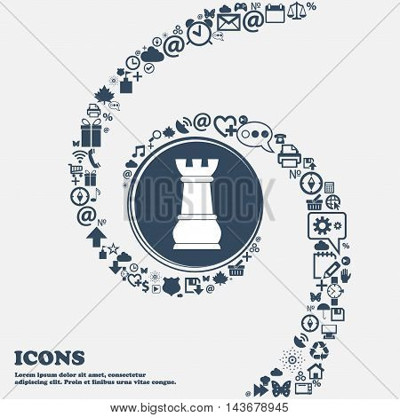 Chess Rook Icon In The Center. Around The Many Beautiful Symbols Twisted In A Spiral. You Can Use Ea