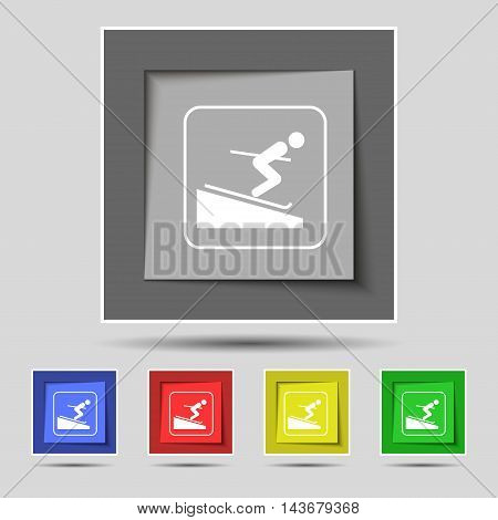 Skier Icon Sign On Original Five Colored Buttons. Vector