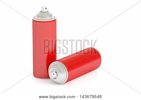 red spray cans 3D rendering isolated on white background