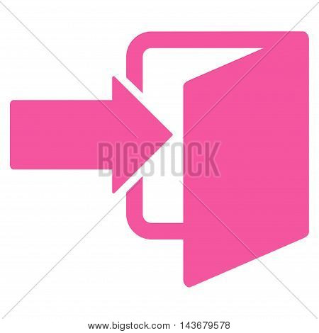 Exit Door icon. Vector style is flat iconic symbol with rounded angles, pink color, white background.