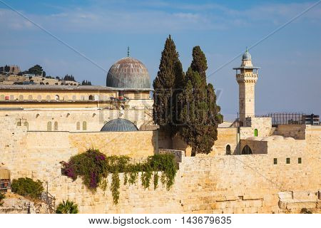The Mosque of Caliph Omar - Al-Aqsa Mosque - and its minaret. The Muslim holy site in Jerusalem