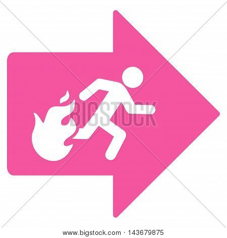 Fire Exit icon. Vector style is flat iconic symbol with rounded angles, pink color, white background.