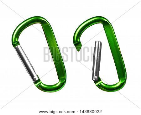 Opening and closing carabiner for mountaineering isolated on white background
