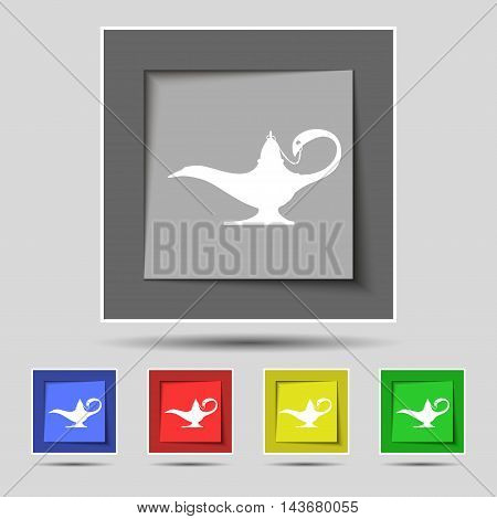 Alladin Lamp Genie Icon Sign On Original Five Colored Buttons. Vector