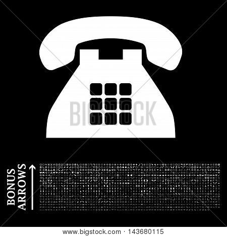 Tone Phone icon with 1200 bonus arrow and direction pictograms. Vector illustration style is flat iconic symbols, white color, black background.