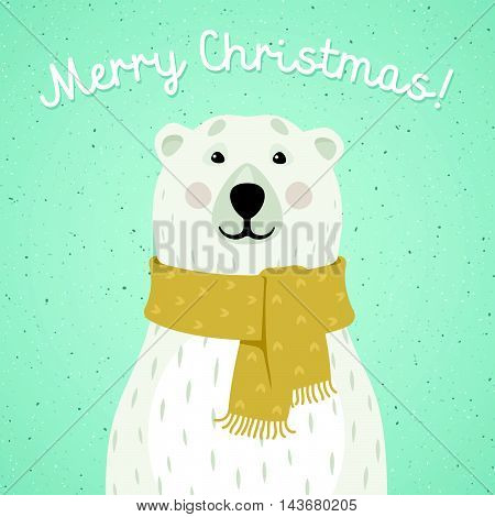 Vector illustration of Christmas card of polar bear with yellow scarf