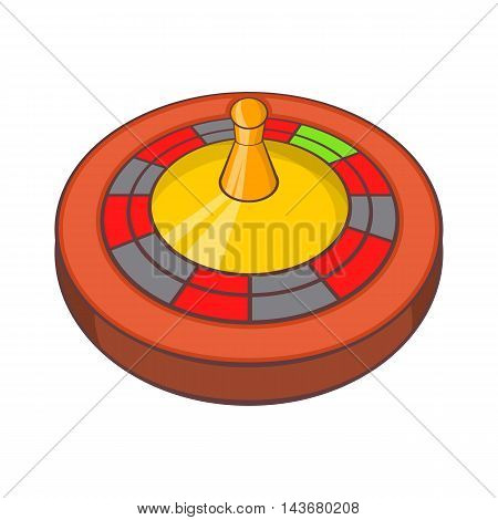 Roulette in casino icon in cartoon style isolated on white background. Game symbol