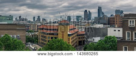 London City skyline panorama in the evening, England, UK