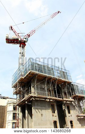 Crane to help with building architecture in London England