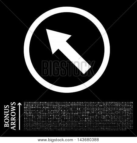 Up-Left Rounded Arrow icon with 1200 bonus arrow and direction pictograms. Vector illustration style is flat iconic symbols, white color, black background.