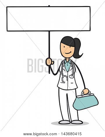 Cartoon nurse or midwife holding up a blank sign