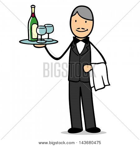 Cartoon waiter or sommelier offering a bottle of wine