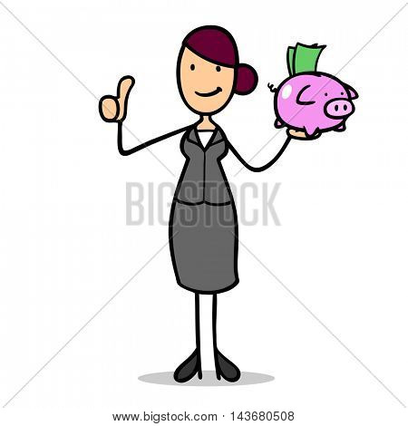 Cartoon businesswoman with money and piggy bank holding thumbs up