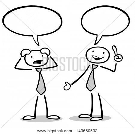 Communication leads to solution of problem of two cartoon business people