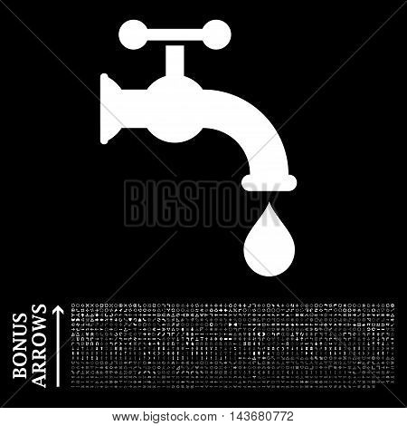 Water Tap icon with 1200 bonus arrow and direction pictograms. Vector illustration style is flat iconic symbols, white color, black background.