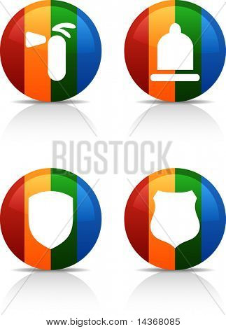 Safety  button set. Vector illustration.