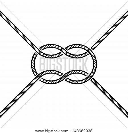 Vector illustration of tied square knot on white background.