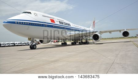 Belgrade Serbia. 17th June 2016. Chinese President Xi Jinping's plane landed at Belgrade's Nikola Tesla International airport. On the ground Xi and his wife Peng Liyuan were greeted by Serbian President Tomislav Nikolic and his wife