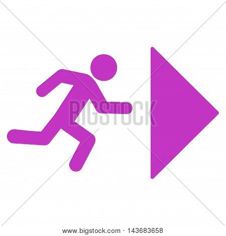 Exit Direction icon. Vector style is flat iconic symbol with rounded angles, violet color, white background.
