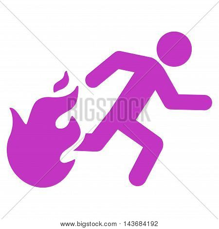 Fired Running Man icon. Vector style is flat iconic symbol with rounded angles, violet color, white background.