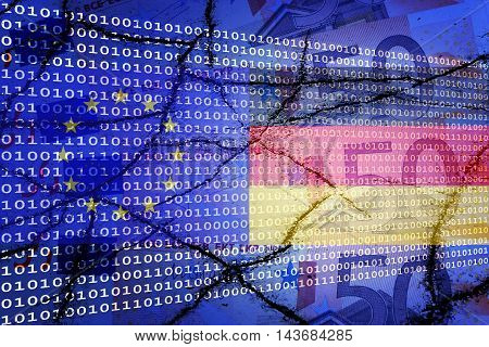 Binary text, Eu flag, Germany flag and euros - Fiance/Technology concept