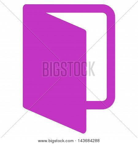 Open Door icon. Vector style is flat iconic symbol with rounded angles, violet color, white background.