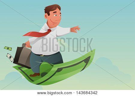 A vector illustration of businessman flying off money carpet for financial concept