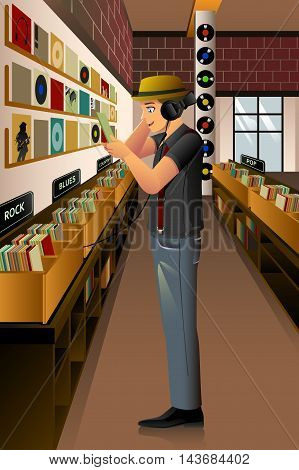 A vector illustration of man listening vintage record in the vinyl store