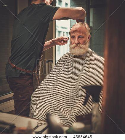 Senior man visiting hairstylist in barber shop.