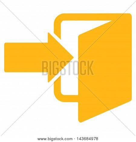 Exit Door icon. Vector style is flat iconic symbol with rounded angles, yellow color, white background.