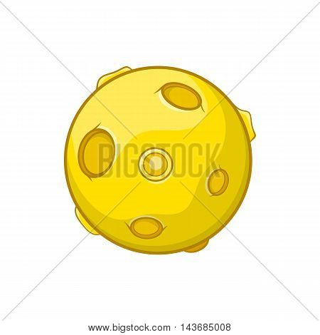 Moon icon in cartoon style isolated on white background. Celestial body symbol